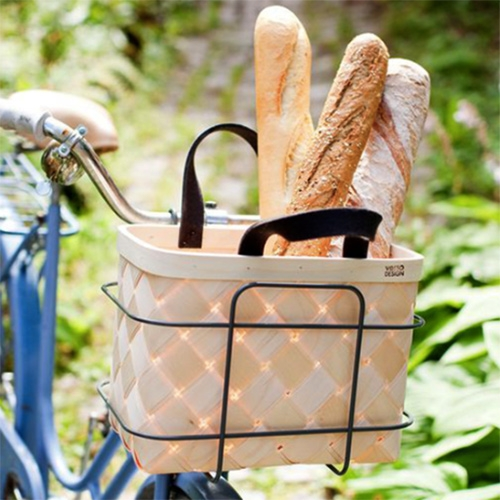 Verso Design Lastu Bike Basket - a lovely modern take on a Finnish classic woven birch basket. These have felt handles in either dark grey, white, or red.