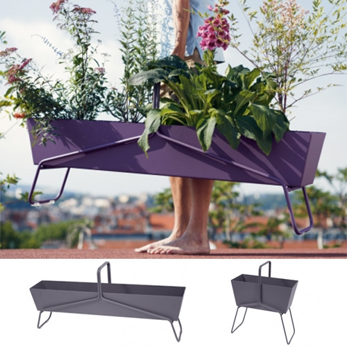 Fermob Planter Baskets at Horne. Available in long and tall and a rainbow of colors. Feet and trays separable. Protected with anti-UV powder coating.