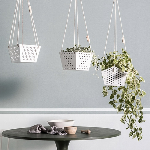 SHELF/LIFE OSLO hanging planters designed by founders Jess and Brendan Ibbett.  Made of laser cut and powder coated steel, which are hand welded and finished.