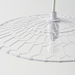 Nendo present BASKET LAMP - a new lamp for Kanaami-Tsuji, Kyoto-based wire netting craftsmen...
