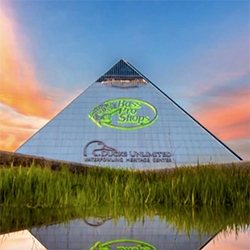 Bass Pro Shop has moved into the Memphis Pyramid - complete with 28 story freestanding glass elevator, gators, bowling, hotel, waterfowling heritage center, Berretta gallery, Mississippi River boat launch... and more.