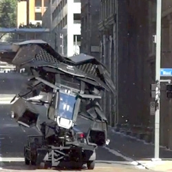 Peek at Batman shooting in Pittsburgh... the BatPlane and BatCopter in action! So many awesomely surreal videos of them rolling down the street...