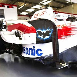 "Formula 1: Panasonic Toyota car with ""Batman: The Dark Knight"" paint."