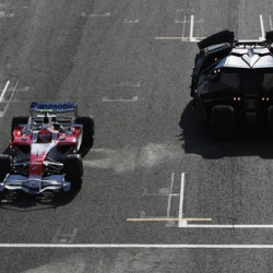 Batmobile goes up against a Toyota F1