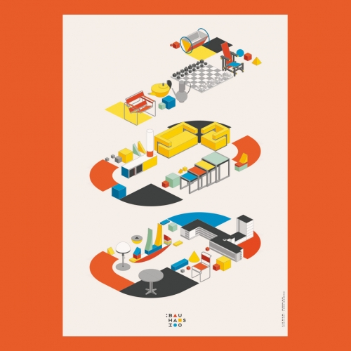 Bauhaus 100 Poster by re:design studio celebrates 100 years of the Bauhaus school through illustrations of its iconic designs