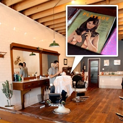 Baxter Finley, Barber & Shop ~ a brand new old school barber shop opens in LA from the men behind Baxter of California. Incredible shave experience ~ with 1900's chairs, vintage Playboys, stunning wood floors and more...