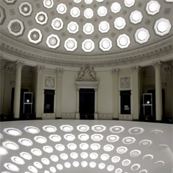 bbass, an installation which combines projected light with graphic animation, architecture and sound. The Florian Licht installation here uses light and sound to transform architectural spaces.