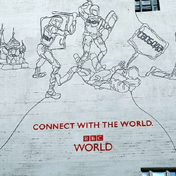 BBC : wire sculpture outdoor. A good use for that extra coaxial cable. Created by BBDO NY.