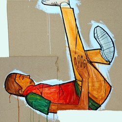b-boys - paintings of old school breakdancers on cardboard, linoleum, and other types of flooring by Ward Jenkins