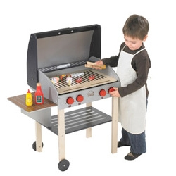 Adorable BBQ Grilling set for your little ones! Though the grill and accessories are made of plywood and MDF... so don't keep it too close to the real one!