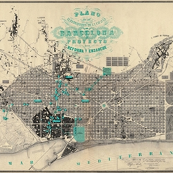 Barcelona Modernista is a foldout map that uses the 1860 illustration of the urban master plan of the 