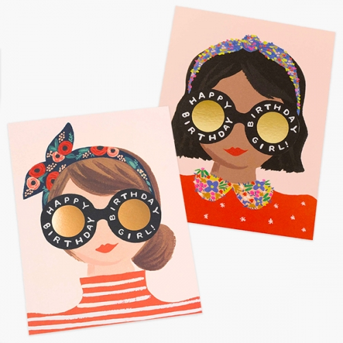 Birthday Girl Greeting Card Series at Rifle Paper Co - love the big reflective glasses and headwear.