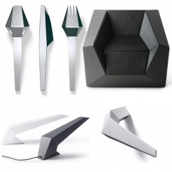 If you like origami or geomety, chances are you'll be a big fan of Austria's Buchegger Denoth Feichtner Design. Everything  from their lounge chairs and lamps to water bottles and cutlery are very... edgy.