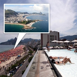 Ipanema from the sky... from the Hotel Fasano Rooftop pool/bar... from down on the beach as a Rio Carnaval Blocos is about to start...