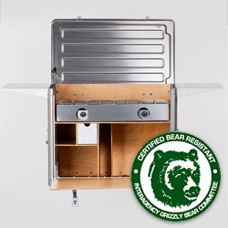 Kanz Outdoors Field Kitchen! Bear Resistant! It stores a camping stove and cookware and provides a working platform. Together with the Field Pantry, Ice box, and more it is a complete kitchen system.