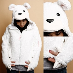 Coming from Rocketworld in Nov 2008 ~ Women's Polar Bear Creature Hoodie and includes IWG Henson Polar Bear Zipper Pull Danglie! (made in CA at one of the Core-Outdoor Technical Apparel shops)