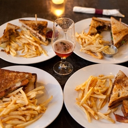 Grilled Cheeses! Little Bear, in the Los Angeles Arts District, serves up a fantastic quartet of sandwiches to go with their selection of Belgian style ales.  Smoked salmon, stilton with apples, ale braised brisket and bacon!