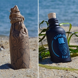 "A nautically inspired beard oil for modern beardsmen by Beard + Sea. The matte black design and oceanic fragrance are meant to contrast against all the wood scented ""lumber-sexualized"" beard products on the market."
