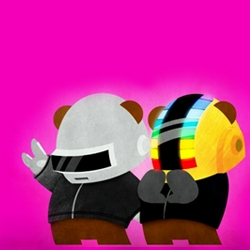"The cutest iteration of Daft Punk yet! These sassy little characters are ""Les Robots"", part of the ""KING PANPAN,"" project: 365 days with a new vector-based super-lovely bear illustration every single day! - by Julius Santiago."