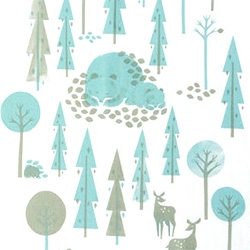 Polkka Jam has adorable tea towels, trays, bedding and more with these slumbering bears and deer in the forest.