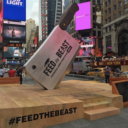 "AMC ""Feed The Beast"" TV Show put up a 16ft meat cleaver and butcher block in Times Square NYC! And since we couldn't make it out, they also sent a surprise press kit over - a meat cleaver and corkscrew in a laser etched wood box."