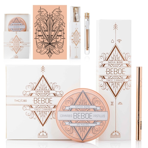 Beboe - the latest in luxurious (looking?) cannabis products. Launched by tattoo artist/entrepreneur Scott Campbell and Clement Kwan (of Yoox/Marley Naturals) the line includes a beautifully packaged rose gold disposable vape and tin of pastilles.