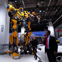 Up close with the life sized Bumblebee from Transformers at the Chevy booth at IAA Frankfurt Auto Show.