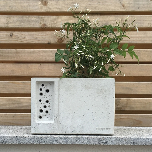 Green & Blue Beepot - Concrete planter and solitary bee hotel