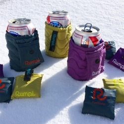 Rumpl Beer Blankets! Mini puffer blankets for your beers are some of the most unique swag I've seen in a while - Rumpl was giving them away at Outdoor Retailer.