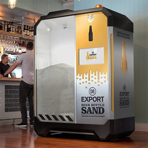 Crushing Beer Bottles into SAND! DB Export – Sand Made From Bottles, Not Beach. Machines were placed in bars where you could crush your bottles into sand.