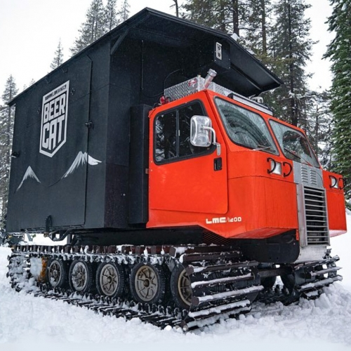 The 10 Barrel Brewing BEERCAT designed and built by pro-snowboarder, Mike Basich! A 1987 Spryte Snowcat turned into mini tavern/mountain pub with three taps and fold down walls! The videos share the making of and adventures as it pops up all season.