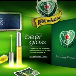 "The fragrance of hops and the lightness of froth, for the first time in a gloss. Heineken presents the ""Beer Gloss"". On Valentine's Day, the gift for her that makes you happy too."