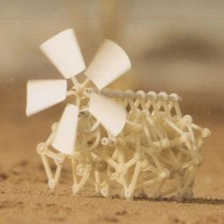 Miniature, walking, wind-powered 'Strandbeests' by Theo Jansen.