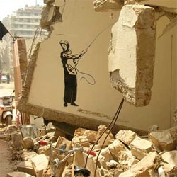 powerful images from beirut.  but its nice to see graf with a positive message of hope.
