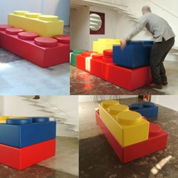 Bekky is another lego inspired design. The modular rubberized foam pieces can be assembled into various sofa shapes