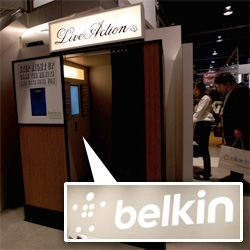 CES: A peek into Belkin's new logo, their two story vintage modern home setup of a booth at CES, the new WeMo system to control your home via app... and even a peek at the house Belkin started in!