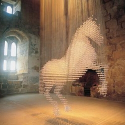 Stella McCartney created Lucky Spot, this special equine inspired installation, from thousands of crystals for a special installation at Belsay Castle.