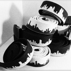 Beetnik Aesthetics' fabric Skyline Belts show off the skyline around your waist and are available in two black and white.