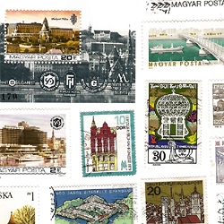 Architecture on postage stamps, from different countries and ages.