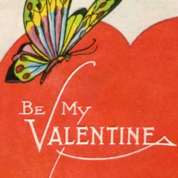 A small collection of vintage Valentine's Day cards, circa 1920s.  Most of the cards are addressed to a woman named Martha Stewart.