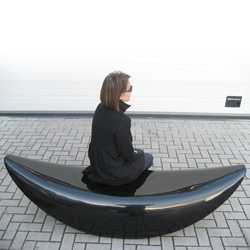Beautiful high gloss black (and white) fiberglass benches ~ Sulla Luna Bench by Marko Macura ~ Now available, limited series of 600 pieces!