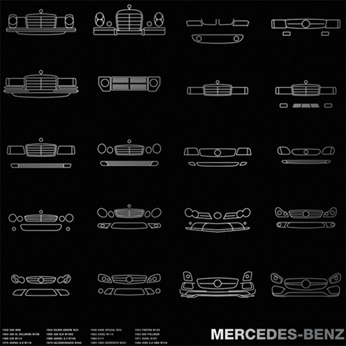 Mercedes-Benz Timeline Poster - history through grills from 1928 to 2016. Metallic Silver Ink on Blacktop 100# Construction Cover Paper by French Paper Co.