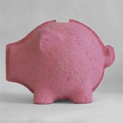 Kiri Martin's Bergdorf, a piggy bank made of paper pulp to teach kids to save.