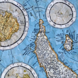 More 'cartographic oddities', the artwork of Francesca Berrini explores the language of maps through new worlds created from torn map collage.