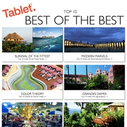 Tablet Hotels rounds up their best of the best for 2012! Top 10 lists in a variety of playful categories like Top 10 for Detoxing, Top 10 Cheerful & Colorful, Top 10 with Awe-inspiring Architecture and more.