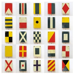 Impress set of 26 wooden nautical flags from Best Made Company.
