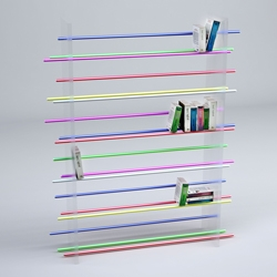 Walls in clear plexiglass and sticks in colored anodized aluminum, another simple bookshelf by Julien Vidame.