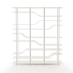 Stairs Bookcase made of lacquered aluminum, available in two heights. By Julien Vidame.