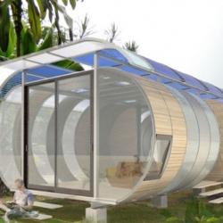 Joseph Bellamo Home Arc is a curvaceous modular prefab home modeled on a bicycle rack.