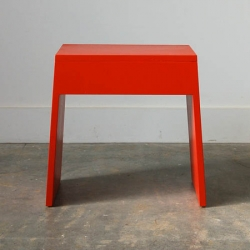 A modern take on a family heirloom, this ever-functional bench is hand built by Chadhaus in Seattle from sustainably harvested local hard wood, and finished with vibrant red low VOC paint.